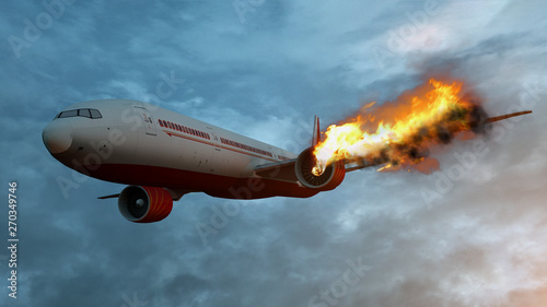 Flying aircraft with exploding aero engine just before air crash Canvas Print