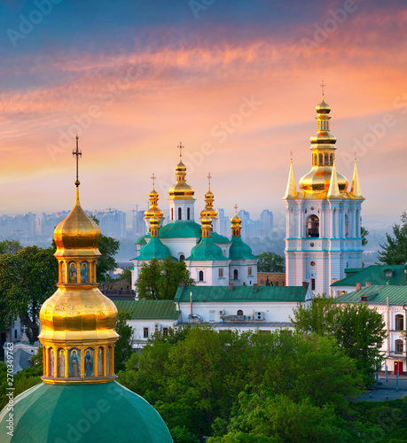Fotobehang Kiev Beautiful summer sunrise of Kiev Pechersk Lavra Orthodox Monastery. Great morning view of Kiev, capital of Ukraine, Europe. Traveling concept background.