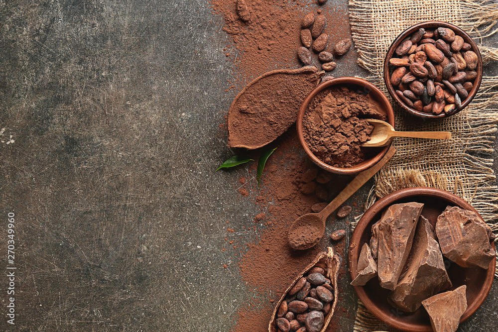 Fototapety, obrazy: Composition with cocoa powder and chocolate on dark background
