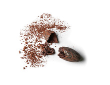 Cracked Bean And Cocoa Powder On White Background