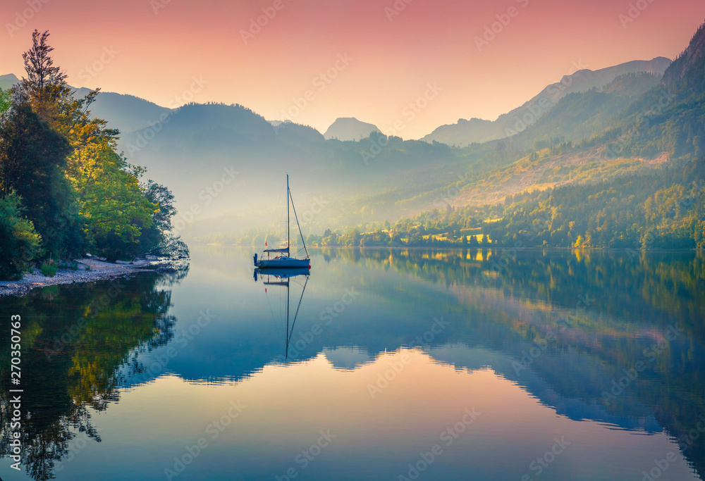 Fototapety, obrazy: Impressive sunrise of Grundlsee lake. Beautiful summer view of Gessl village, Liezen District of Styria, Austria, Alps. Europe. Beauty of countryside concept background.