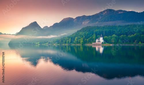 Türaufkleber Lachs Impressive sunrise of Grundlsee lake. Beautiful summer view of Gessl village, Liezen District of Styria, Austria, Alps. Europe. Beauty of countryside concept background.