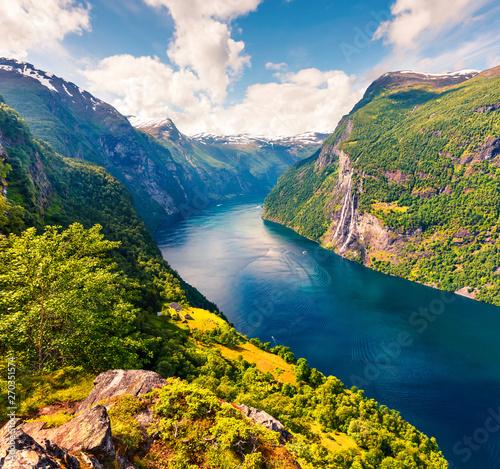 Splendid summer scene of Sunnylvsfjorden fjord, Geiranger village location, western Norway Canvas Print