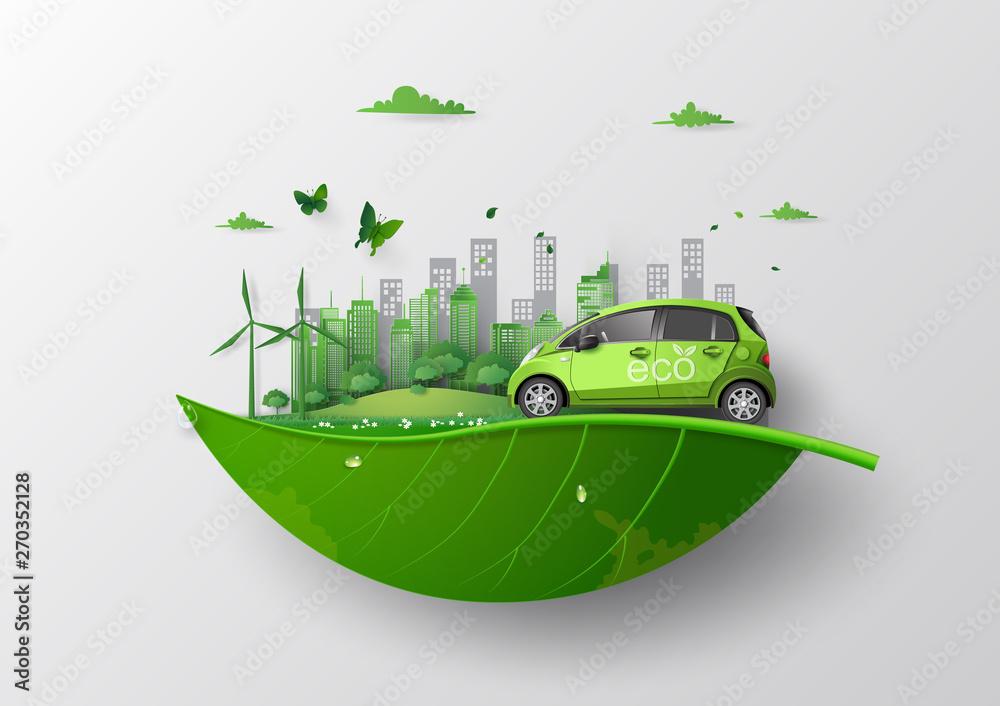 Fototapeta eco car concept