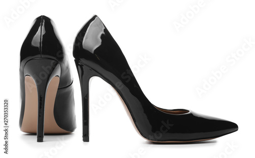 Stylish high-heeled female shoes on white background Tablou Canvas