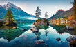 Leinwanddruck Bild - Beautiful autumn scene of Hintersee lake. Colorful morning view of Bavarian Alps on the Austrian border, Germany, Europe. Beauty of nature concept background.