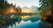 Amazing Autumn Sunrise Of Hintersee Lake. Picturesque Morning View Of Bavarian Alps On The Austrian Border, Germany, Europe. Beauty Of Nature Concept Background.