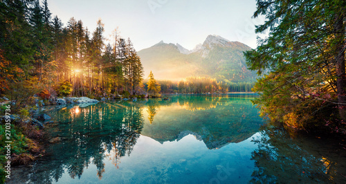 Door stickers Sunset Amazing autumn sunrise of Hintersee lake. Picturesque morning view of Bavarian Alps on the Austrian border, Germany, Europe. Beauty of nature concept background.