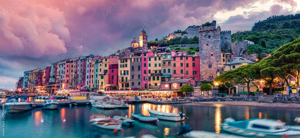 Fototapety, obrazy: Fantastic spring scene of Portovenere town. Picturesque evening sunset of Mediterranean sea,  Liguria, province of La Spezia, Italy, Europe. Traveling concept background.
