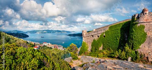 Valokuvatapetti Sunny morning view of Portovenere town with Doria Castle