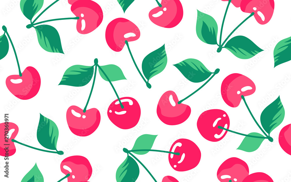 Fototapety, obrazy: Seamless pattern with cherry on a white background. Vector
