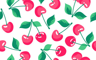 Seamless pattern with cherry on a white background. Vector