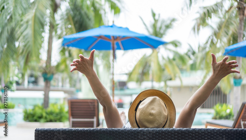 Fotografija Summer resort hotel stay relaxation of business woman take it easy happily resti