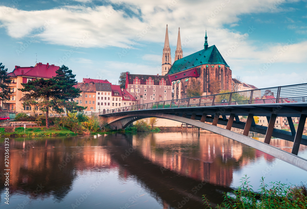 Spectacular morning view of St Peter and Paul's Church, on the Polish border. Colorful autumn cityscape of Gorlitz, eastern Germany, Europe. Traveling concept background.