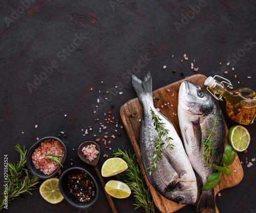 Obraz na plátně  Fresh fish dorado