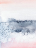 Rumieniec różowy i granatowy streszczenie akwarela ręcznie malowany pejzaż. - 270362759