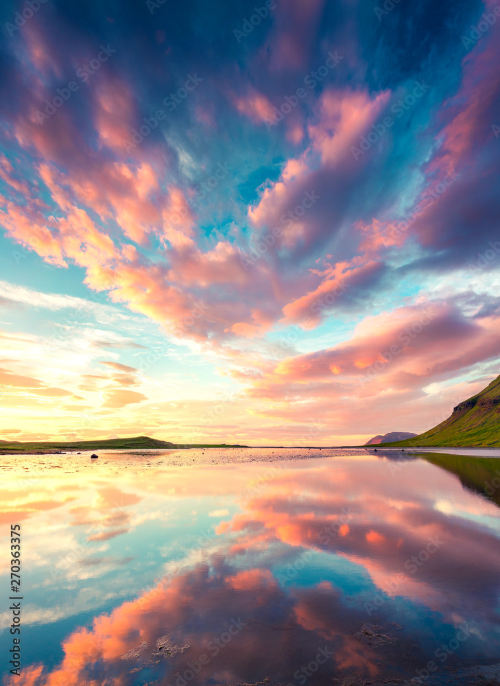 Fototapeta Colorful summer sunset near Grundarfjordur town. Evening scene on the Snaefellsnes peninsula, Iceland, Europe. Beauty of nature concept background.