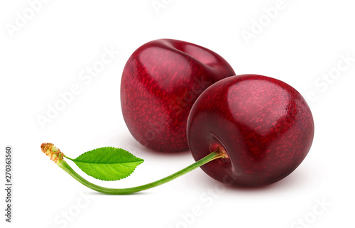 Valokuva Cherry isolated on white background with clipping path
