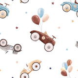 Watercolor baby car pattern