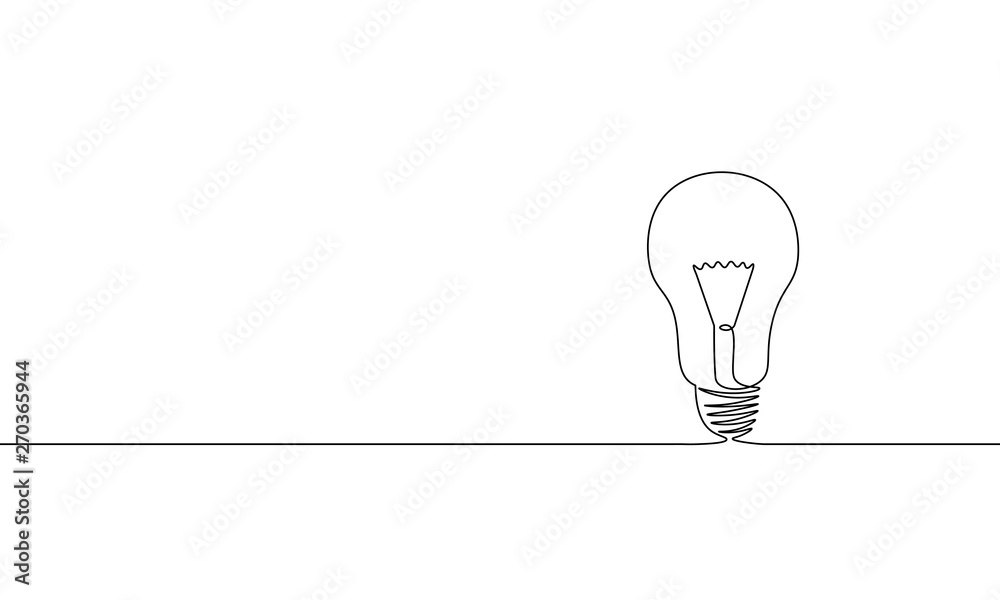 Fototapety, obrazy: Single continuous one line art idea light bulb. Creative solution team work lamp concept design sketch outline drawing vector illustration