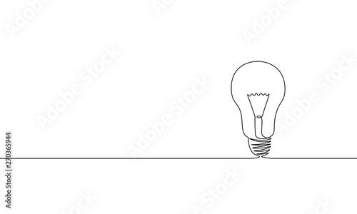 Obraz Single continuous one line art idea light bulb. Creative solution team work lamp concept design sketch outline drawing vector illustration - fototapety do salonu