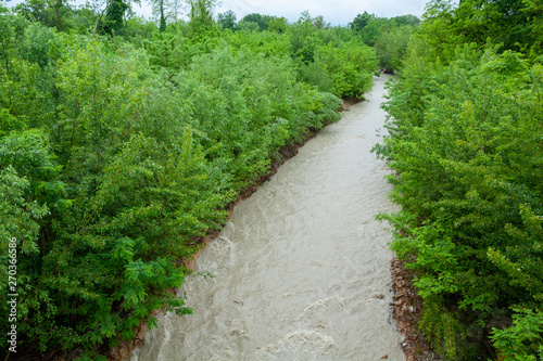 Photo rivers in full climate change streams and rivers Italy