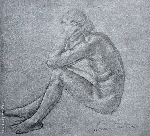 Photo  Sketch of naked man from the back in a vintage book Leonard de Vinci, author A
