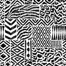 Seamless Pattern In Patchwork Style. Zebra, Leopard Fur, Ethnic And Tribal Motifs. Black And White Patchwork Print. Handwork. Grunge Texture. Vector Illustration.