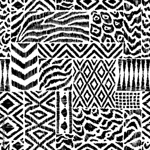 Fototapeten Künstlich Seamless pattern in patchwork style. Zebra, leopard fur, ethnic and tribal motifs. Black and white patchwork print. Handwork. Grunge texture. Vector illustration.