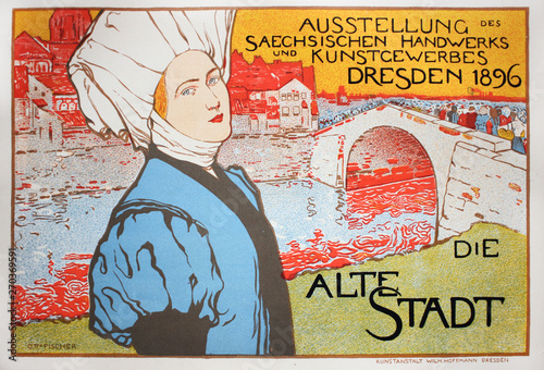 Obraz na plátně  German advertising poster with woman on it in the vintage book Les Maitres de L'Affiche, by Roger Marx, 1897