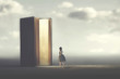 surreal book opens a door illuminated to a woman, concept of way to freedom