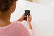 Close up of woman using blank screen of smartphone