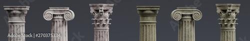 Fotografia Realistic 3d Render of Columns (Doric, Ionic and Corinthian)