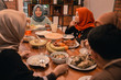 Happiness of hijrah family when enjoy eating iftar together in the afternoon