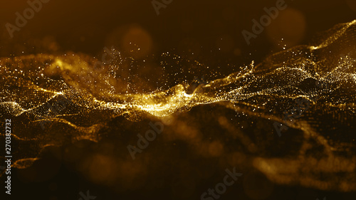 Abstract gold color digital particles wave with bokeh and light background