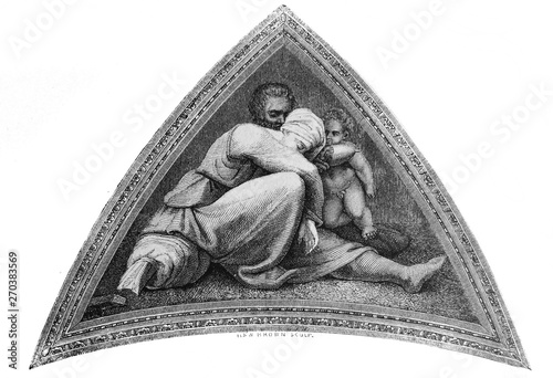 Valokuvatapetti The fresco from the Sistine Chapel by Michelangelo in the vintage book the History of Arts by Gnedych P