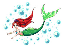 Cute Swimming Mermaid Vector D...
