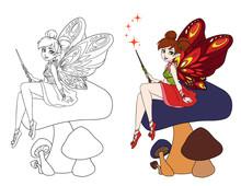 Cute Cartoon Fairy With Butter...