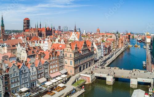 Obraz Gdańsk stare miasto. Zielony Most i Zielona Brama z lotu ptaka. - fototapety do salonu
