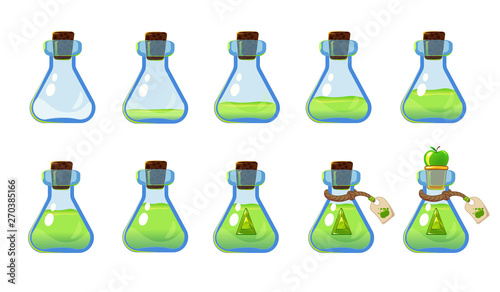 Set of different states of bottle with green elixir and apple Wallpaper Mural