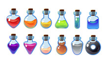 Set Bottles With Different Potions. Game Interface Illustration