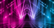 canvas print picture - Background of empty stage show. Neon blue and purple light and laser show. Laser futuristic shapes on a dark background. Abstract dark background with neon glow