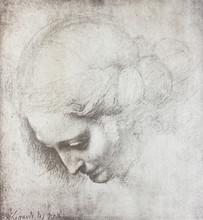 The Head Of The Woman By Leonardo Da Vinci In The Vintage Book Disegni Di Leonardo By L. Beltrami, Milan, 1904