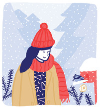 Winter Girl Finds A Little Bird In The Forest Illustration