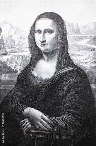 Photo  TheMona Lisa or La Gioconda by Leonardo Da Vinci in the vintage book Leonardo Da Vinci by M