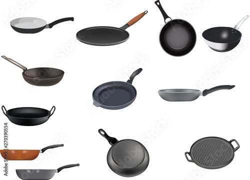 Obraz na plátně  serie di padelle antiaderente per la ristorazione
