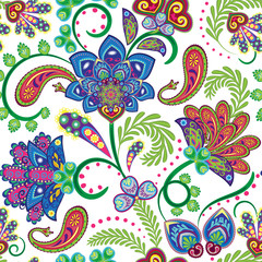 Beautiful vintage floral seamless for your business. Vector. Colorful on white