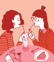 Two Women In Love On Their First Date At The Diner Illustration