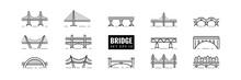 Bridge Line Art Icon Set Vector Isolated