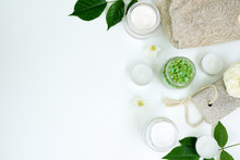Spa Aromatic Sea Salt, Handmade Natural Spa Products Concept, View From Above, Space For A Text On White Background